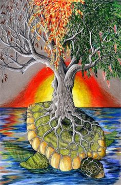 Turtle Island and Tree of Life, by DarkArtistic on deviantART -Iroquois creation story