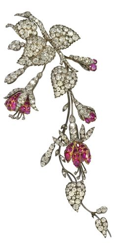 A. E. Köchert - An antique diamond and ruby Fuchsia brooch, about 1900. Provenance: Austrian actress Katharina Schratt, given to her by Kaiser Franz Josef around 1900. Two design drawings of this brooch by the Viennese jeweller Köchert exist from around 1890-95. #GemstoneBrooches