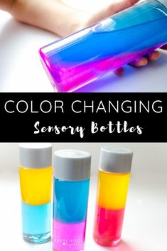 Simple step-by-step instructions on how to make your own color-changing sensory bottle! This discovery bottle is a sure win with kids of all ages, from preschool on up. Use it as an awesome addition to your preschool curriculum! - Education and lifestyle Preschool Curriculum, Preschool Science, Preschool Activities, Free Preschool, Science Art, Preschool Color Crafts, Easy Science Experiments, Motor Activities, Toddler Activities