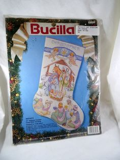 Bucilla Counted Cross Stitch Kit Stocking Nativity  #Bucilla #CountedCrossStitchKit #Stocking #Nativity #Craft  #SuppliesTools  #Patterns  #embroiderykit  #Vintage #Kit