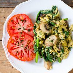 Scrambled Eggs with Parmesan Cheese, Basil, Spinach, and Mushrooms