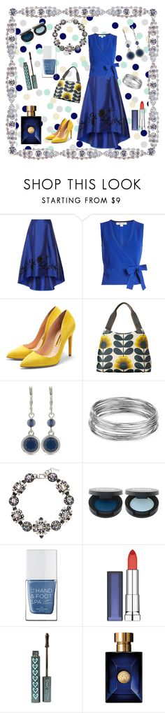 """""""Blue And Yellow"""" by jeanstapley ❤ liked on Polyvore featuring NOIR Sachin + Babi, Diane Von Furstenberg, Rupert Sanderson, Orla Kiely, Nine West, Aqua, The Hand & Foot Spa, Maybelline and Versace"""