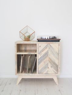 Vinyl records storage cabinet made from reclaimed solid wood, great for Scandinavian style home Vinyl Record Cabinet, Record Player Cabinet, Vinyl Record Storage, Vinyl Records, Small Bedroom Interior, Interior Design Living Room, Bedroom Ideas, Bedroom Decor, Reclaimed Wood Furniture