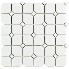Merola Tile Metro Broadway Matte White with White Dot in. x 6 mm Porcelain Mosaic Tile FMTBMWD at The Home Depot - Mobile Mosaic Wall Tiles, Ceramic Floor Tiles, Tile Floor, Porcelain Floor, Bath Tiles, Backsplash Tile, 2nd Floor, Retro 1, Metro Retro