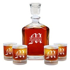 Housewarming Gift, Personalized Whiskey Decanter Set with 4 Whiskey Glasses, Groomsmen Gift, Engraved Decanter Set, Scotch Decanter Whiskey Decanter, Whiskey Glasses, Whiskey Gifts, Best Gift For Husband, Husband Gifts, Wedding Gifts For Couples, Wedding Ideas, Anniversary Gifts For Him, 2nd Anniversary
