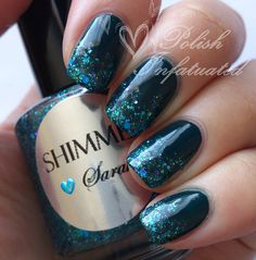 Teal and glitter gradient :) -Polish Infatuated