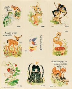 Sheet of Nine cute animals vintage by aBetterTomorrowSales on Etsy, $4.00