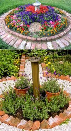Brick flower bed edging slope landscaping ideas brick steps garden how to lay brick flower bed Large Backyard Landscaping, Landscaping Ideas, Natural Landscaping, Backyard Ideas, Shade Landscaping, Mailbox Landscaping, Florida Landscaping, Porch Ideas, Garden Beds