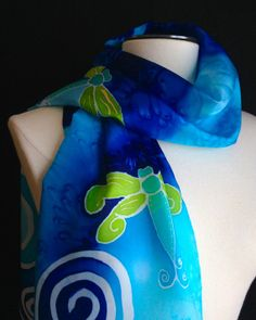 Hand painted silk scarf with dragonflies and by FantasticPheasant, $35.00