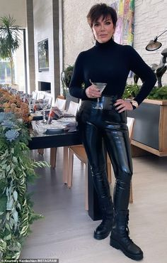 Kris Jenner, Kardashian Jenner, Jenner Family, Aspen, Prada, Leather Pants, Boyfriend, Mail Online, Daily Mail