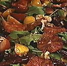 beet + arugula salad with walnuts and blood orange vinaigrette