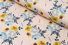 Vintage floral fabric #fabric Vintage Floral Fabric, Vintage Flowers, Trend Fabrics, Bamboo Rayon, Pale Pink, Colours, Knitting, Fashion, Moda