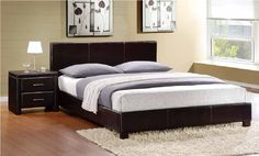 Zoey Dark Brown Wood Upholstered Fabric Master Bedroom Set