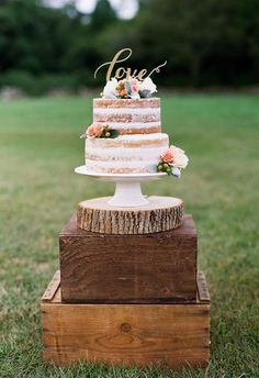 "Naked cake, gold ""love"" cake topper, pink flowers // heidi vail p My Wedding Favors, Wedding Cake Rustic, Rustic Cake, Wedding Ideas, Wedding Venues, Wedding Bouquet, Party Favors, 2 Tier Wedding Cakes, Wedding Songs"