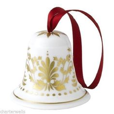 New Royal Crown Derby 1st Quality Gold Bell Christmas Tree Decoration + Gift Box