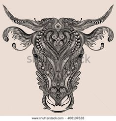 Immagine vettoriale stock 406137628 a tema Cow Head Vector Abstract Patterns (royalty free) Taurus Bull Tattoos, Bull Skull Tattoos, Bull Skulls, Face Tattoos, Animal Skulls, Animal Tattoos, Kopf Tattoo, Animals With Horns, Taurus Art