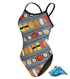 I also own this suit.because I love sushi and I would love to eat it every time I put 60 hard minutes into a swim. Competitive Swimming, Swimming Diving, 1 Piece Swimsuit, Swim Team, Swim Shop, Cute Swimsuits, Water Polo, Triathlon, Bathing Suits