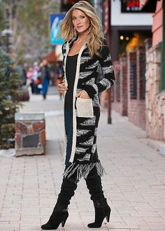 PRINTED FRINGE HEM DUSTER, SEAMLESS CAMI, COLOR SKINNY JEANS, SLOUCHY LAYERED…