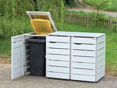 3er Mülltonnenbox Holz / Edelstahl, Deckend Geölt Lichtgrau, für 120 l + 240 L Mülltonnen