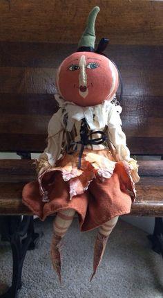 *** MINT *** Joe Spencer Lulie Leaf Primitive Folk Art Halloween Doll / Figure