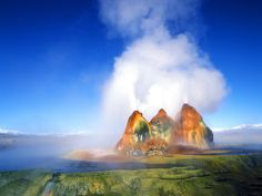 The Fly Geyser in Black Rock Desert, Nevada. Amazing, but also disgusting somehow. Perhaps it's their shiny bulbous nature, like cysts ready to burst.