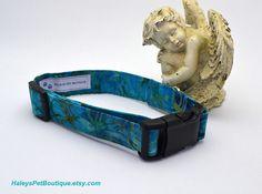Very Chic Handmade Aqua Blue Print Dog Collar Pet Supplies by HaleysPetBoutique.Etsy.com