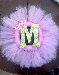 Tulle Wreath, door decoration, pink and gold, princess, birthday decor, first birthday, tutu, ballerina decor, wreath decoration, letter decoration, baby shower, baby arrival, wreath