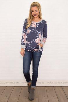 $32 All In Love #Floral Long Sleeve Ruffle Kangaroo Pocket in Navy