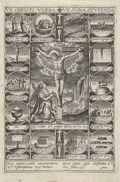 Pierre Firens | Christus aan het kruis, Pierre Firens, 1600 - 1639 | Christus met doornenkroon aan het kruis. Aan de voet van het kruis knielt Maria Magdalena. De voorstelling is omlijst met 14 ronde cartouches met Christelijke iconografie.