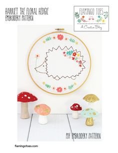 Harriet the Floral Hedgie Embroidery Pattern-01
