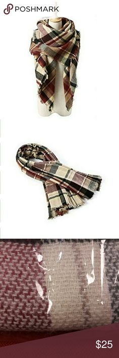 """NEW Cozy Tartan Blanket Scarf Wrap Shawl 100% Acrylic Spot clean. Hand wash cold, dry flat; or dry clean. * Size:55"""" x 55"""". * This cozy scarf is perfect for cold weather and is a great fall companion for your autumn and winter wardrobe.  Please, review pics. Contact me if you have questions. Smoke/Pet free home. Accessories Scarves & Wraps"""
