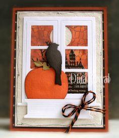 MIX29 - Halloween Window handmade halloween cards, dini stamperia, halloween window, pumpkin, fallhalloween card, impress obsess, crow, mama dini, paper crafts