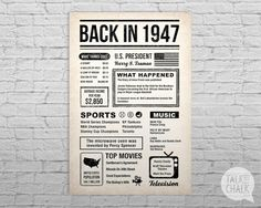 Back In 1947 Newspaper-Style Poster 70th Birthday by TalkInChalk