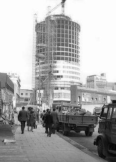 """Construction of the Rotunda, mid c. Aston Birmingham, Birmingham City Centre, Birmingham England, Birmingham Shopping, Birmingham University, The Second City, Walsall, Urban City, West Midlands"
