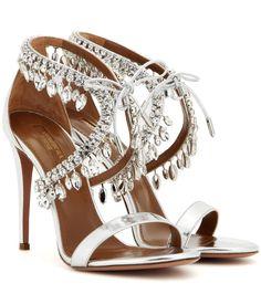mytheresa.com - Milla Jewel 105 embellished metallic leather sandals - Shoes - Luxury Fashion for Women / Designer clothing, shoes, bags