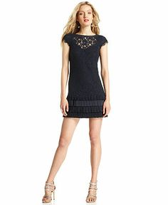 It came to my knees in the store, I swear! Jessica Simpson Cap-Sleeve Tiered Lace Dress - Dresses - Women - Macy's