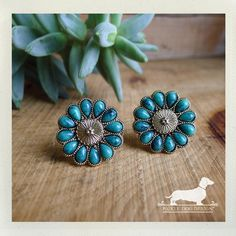 Turquoise Petals. Post Earrings  VintageStyle by PickleDogDesign, $10.00