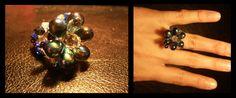 Bague fleur du crépuscule. Handmade ring. Glass and crystal beads.