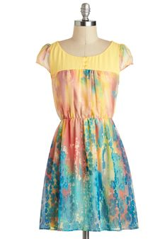 Printmaking an Impression Dress - Short, Multi, Yellow, Blue, Pink, Print, Buttons, Daytime Party, A-line, Cap Sleeves