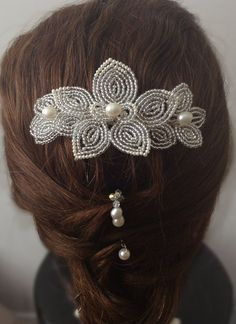 Silver and Pearl French Beaded Hair Comb by CataleyaHandcrafts