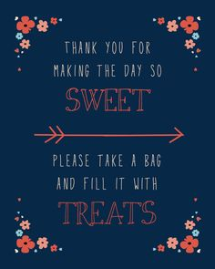Wedding Candy Bar Sign, Navy & Coral - Digital Download