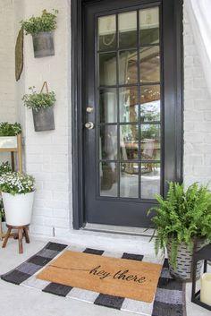 Best Modern Farmhouse Front Door Entrance Design Ideas ~ Home Design Ideas Front Door Porch, Front Door Mats, Front Door Entrance, Front Door Decor, Front Doors, Front Porch Plants, Front Door Planters, Fromt Porch Decor, Front Porch Decorations