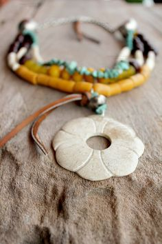 Items similar to Bohemian Gypsy necklace in Yellow, Jade, Brown and Cream with flower pendant - Bohemian jewelry & African jewelry on Etsy