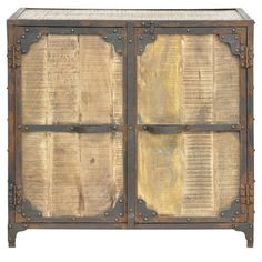 Mango wood cabinet with two doors and a distressed finish.  Product: CabinetConstruction Material: Mango wood