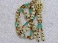 RARE Max Neiger Turban Head Man Czech Uranium Glass Sautoir Necklace   eBay