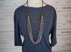"38"" champagne beaded and leather necklace. $42. Find at cindysfaves.com"