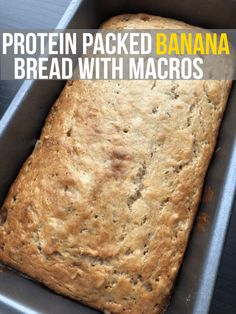 Protein Packed Banana Bread Macros (per serving, recipe makes 259 calories, fat, carbs, protein Protein Banana Bread, Banana Bread Recipes, Skinny Banana Bread, Potato Recipes, Cake Recipes, Healthy Protein Snacks, Protein Foods, Protein Cake, Protein Cookies