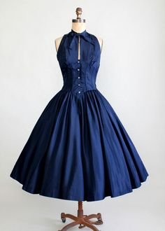 Vintage Late 1940s Taffeta Halter Party Dress and Bolero Jacket