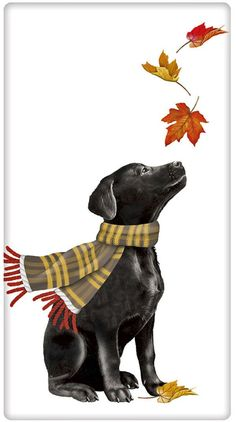 Autumn Leaves Black Labrador Retriever Dog Cotton Flour Sack Dish Tea Towel - Mary Lake Thompson x Labrador Retrievers, Labrador Retriever Negro, I Love Dogs, Cute Dogs, Black Labs Dogs, Black Cats, Guache, Mary Engelbreit, Dog Art