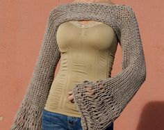 Serahia - Sexy Beige Taupe Open Knit Long Sleeve Cropped Sweater Shrug
